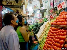 Customers at a food market in Mexico City