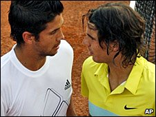 Fernando Verdasco (left) and Rafael Nadal chat after their quarter-final