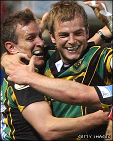 Stephen Myler is congratulated on his winning drop-goal