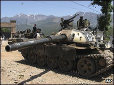 A Pakistan tank in Lower Dir after fighting with the Taleban