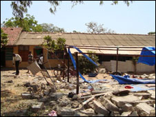 An image from a doctor in Mullivaikal apparently showing damage to the makeshift hospital there
