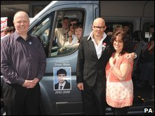 Comedian Harry Hill, Barry and margaret Mizen, launch Jimmybuses