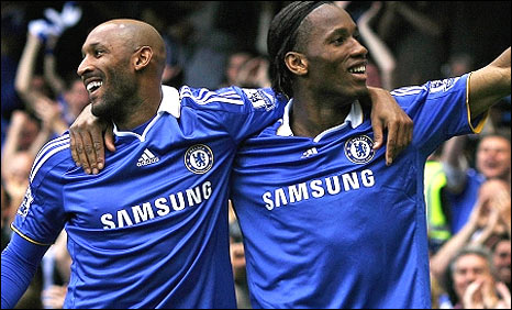 Nicolas Anelka (left) and Didier Drogba celebrate a Chelsea goal