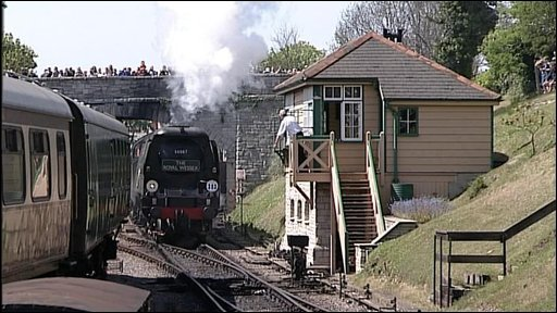 Steam train arriving in Swanage