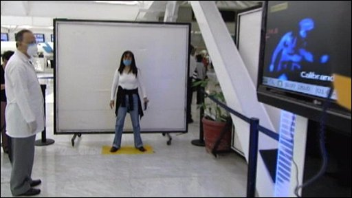 A woman being screened for swine flu at Mexico City airport