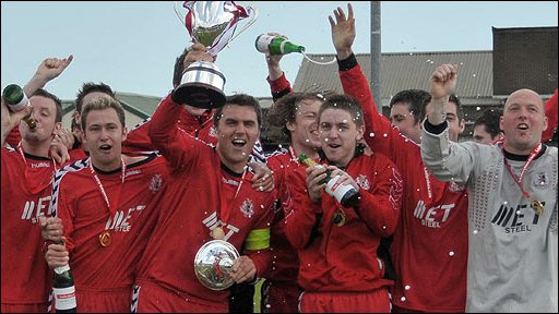 Portadown celebrate winning the Ladbrokes.com Championship