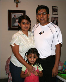 Pedro Aparicio with his wife and daughter