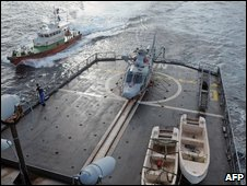 A French warship on anti-piracy patrol in the Gulf of Aden