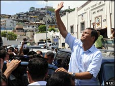 President Rafael Correa, on election day on 26 April 2009