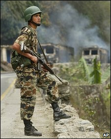 A Nepalese soldier during fighting with Maoists rebels in 2005
