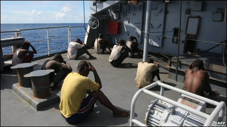 Captured Somali pirate suspects on board the Nivose