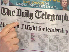 Copy of the Daily Telegraph defaced by Harriet Harman