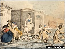 Cartoon of women bathing in the sea in 1825