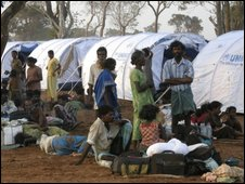 Photo provided by United Nations High Commissioner for Refugees (UNHCR), showing displaced Sri Lankan ethnic Tamils at a transit camp in Vavuniya, Sri Lanka