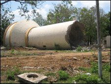 A giant water pipe which the army claim was destroyed by the Tamil Tigers