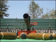 Display of munitions captured from the Tamil Tigers