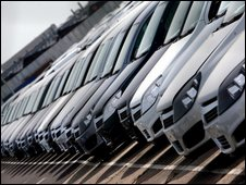 Cars at the Vauxhall plant in Ellesmere Port