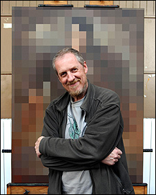 Peter Howson in front of the pixalated painting