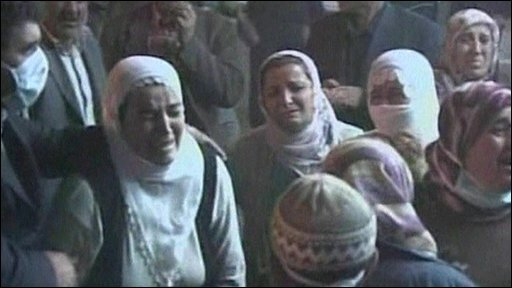 Relatives of the dead and injured at a hospital in Mardin