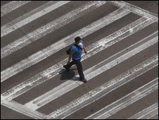 Man alone in Mexico City