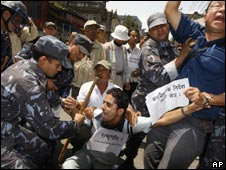 Protesters outside the presidential office in Kathmandu, Nepal, on May 5, 2009