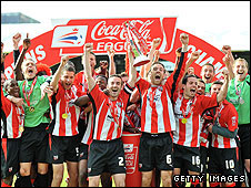 Brentford celebrate winning the League Two title