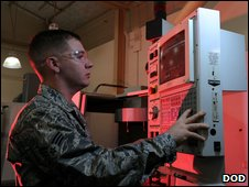US Airman and computer control panel
