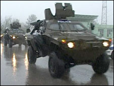 Georgian armoured personnel carriers move to the Mukkrovani military base. Photo: 5 May 2009