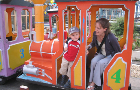 Gwilym Love's daughter Karen and her son Reece enjoy the fair at Rhyl