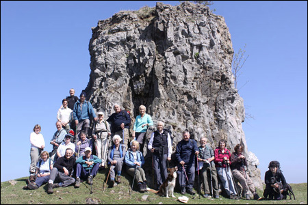 Neath Walking Club take a rest at the outcrop of rock known as Tom Thumb above the Clydach Gorge (Ken Jones)