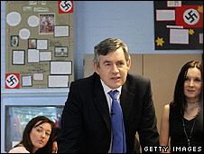 Gordon Brown on a visit to  Prendergast Hilly Fields College