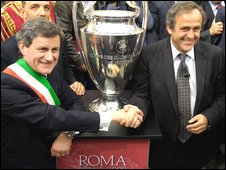 Gianni Alemanno and Michel Platini
