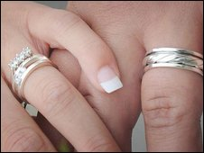 A couple wearing wedding rings
