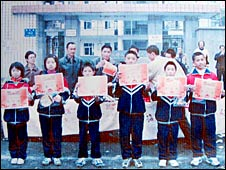 Children outside Juyuan Middle School before the earthquake