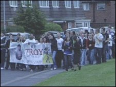 Friends of Troy Atkinson march in his honour