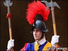 - APRIL 27: Members of the Swiss Guard stand to attention