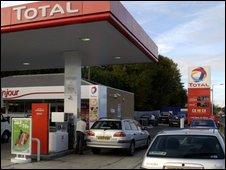 Forecourt at at Total petrol station