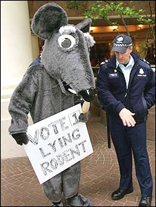Protester dressed as a rat