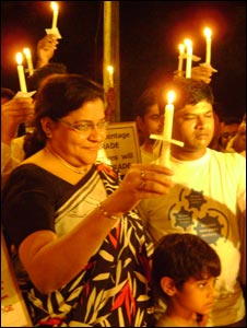 Delhi Chief Electoral Officer (Mrs) Satbir Silas Bedi at the candle march in Delhi