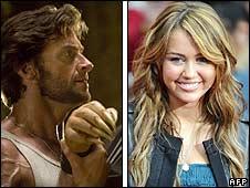 Wolverine star Hugh Jackman and Hannah Montana star Miley Cyrus
