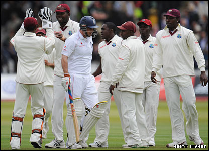 West Indies celebrate after Andrew Strauss is dismissed
