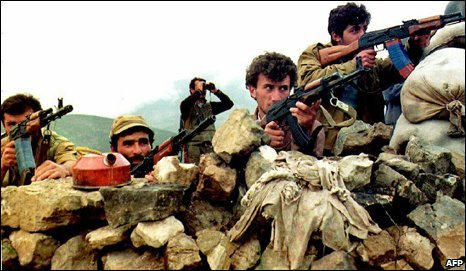 Armenian soldiers fire on Azeri positions near the village of Hanatag in Nagorno- Karabakh 19 May, 1992