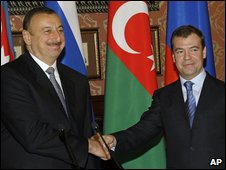 Russian President Dmitry Medvedev, right, and President of Azerbaijan Ilham Aliyev, in Moscow, April 2009