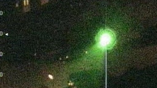 The laser beam as seen from the helicopter
