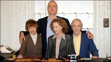 Prunella Scales, John Cleese, Connie Booth and Andrew Sachs