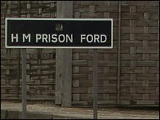 Ford Prison's sign by an ordinary fence