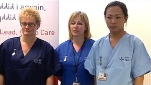 Nurse in navy blue uniform, nurse in royal blue uniform, nurse in sky blue uniform