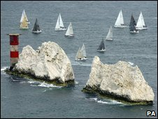 Yachts at the Needles, off the Isle of Wight
