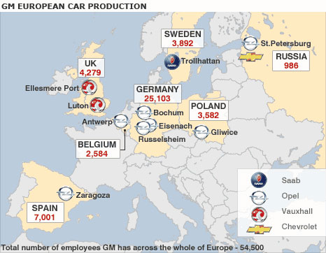 Map of GM Europe's key operations