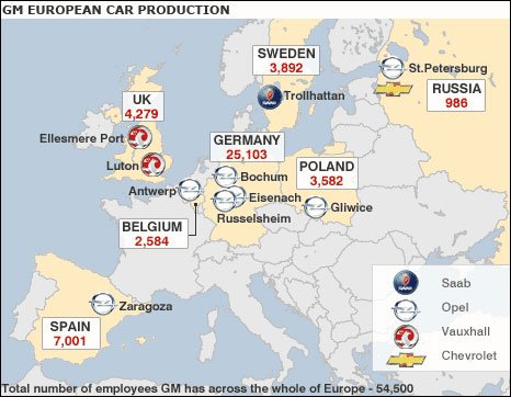 GM's key production facilities in Europe